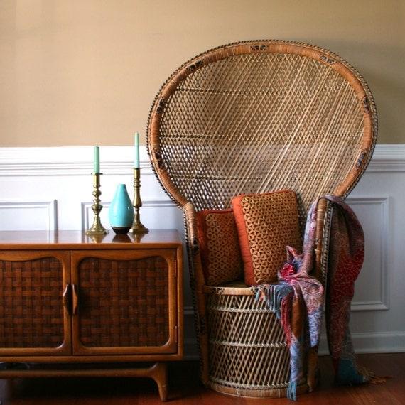 Chinoiserie Peacock Chair. Hollywood Regency High Fan Back. Home Decor. Rattan. Wicker. Tiki. Patio Chair. Garden Decor.