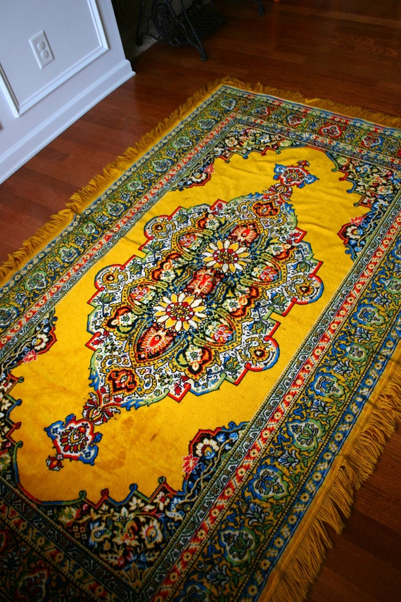 vintage rug golden yellow eclectic bohemian home decor advertisement