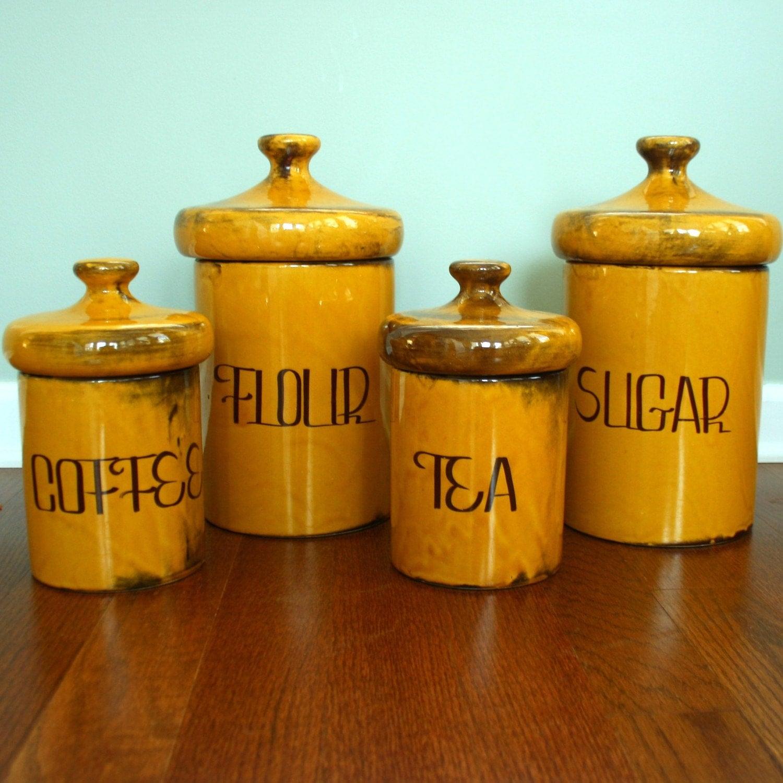 vintage 70s canisters set sugar flour coffee tea mid. Black Bedroom Furniture Sets. Home Design Ideas