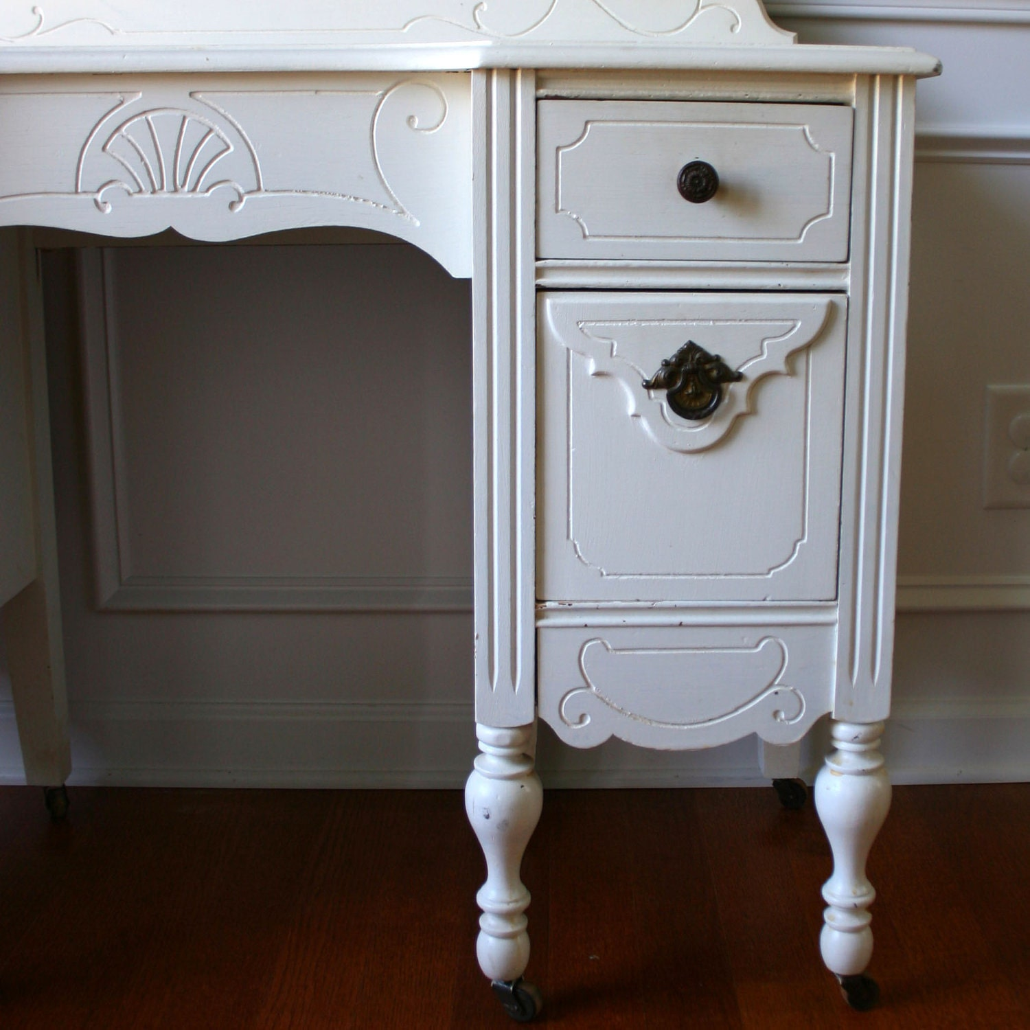 1930s Vanity Desk And Mirror Antique White Cream Bohemian