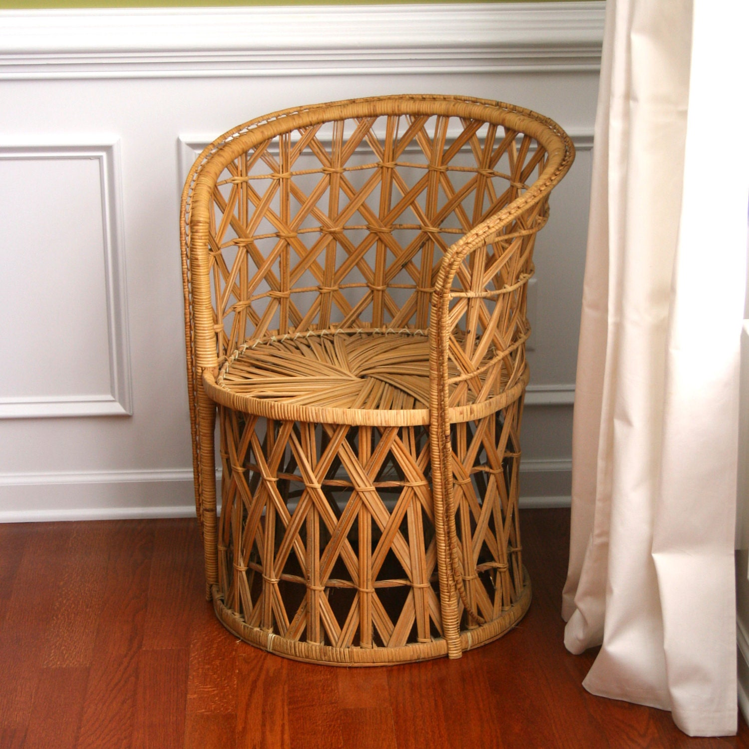 Home Chair: Vintage Rattan Chair. RESERVED. Fall Autumn Home Decor