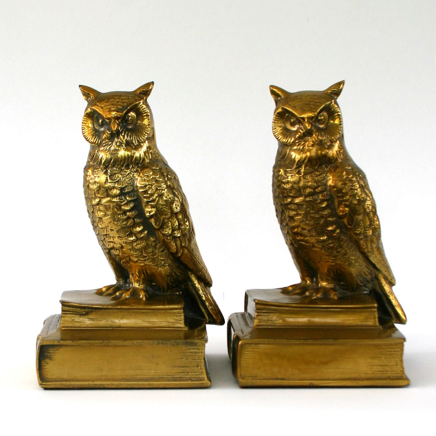 Vintage Owl Bookends Brass Books Wise Old Owl Fall Autumn