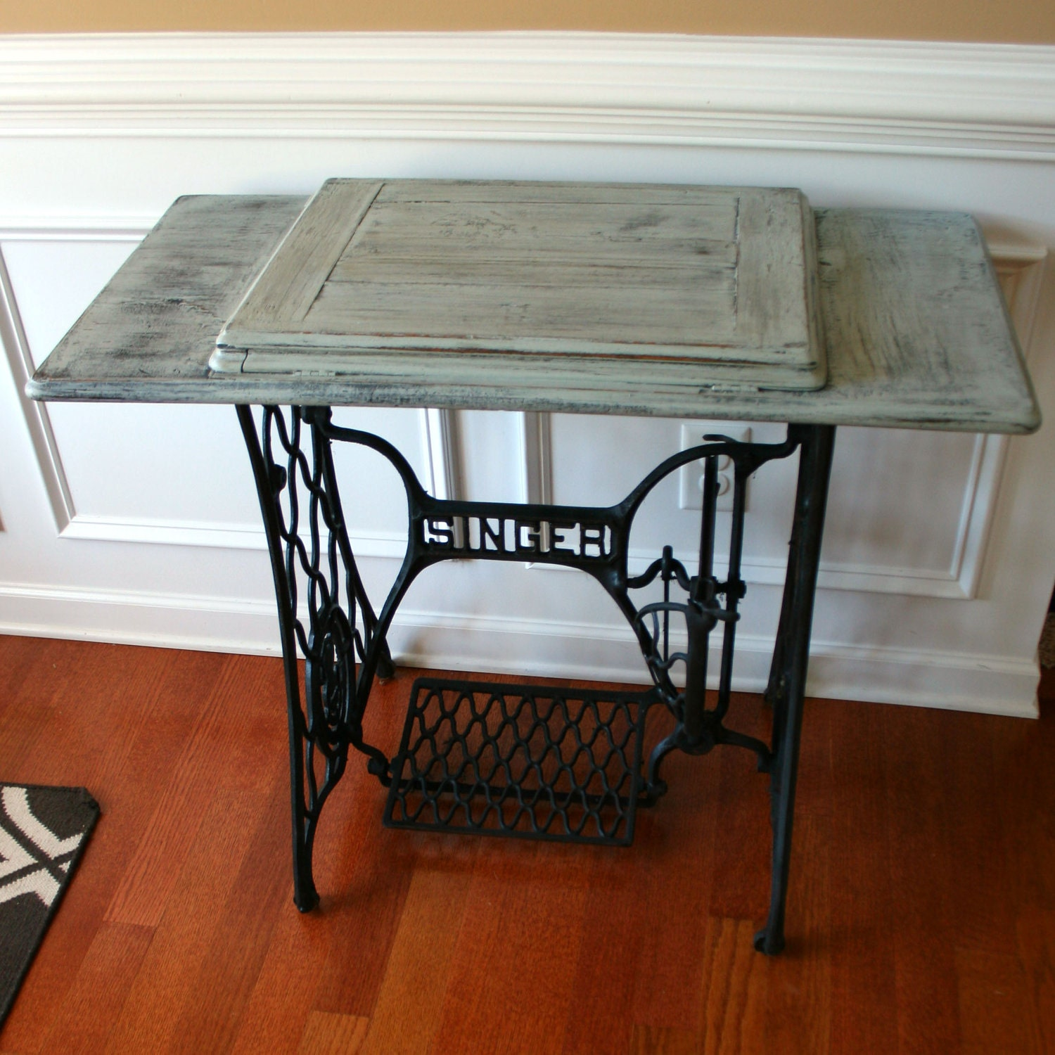 SALE. Sewing Machine Table. Cottage Chic Beach House. Grey