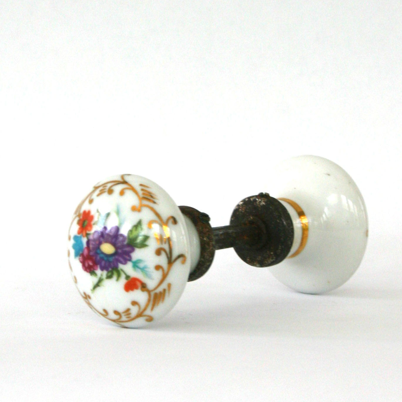 Antique Porcelain Door Knobs Floral Flowers Cottage Chic