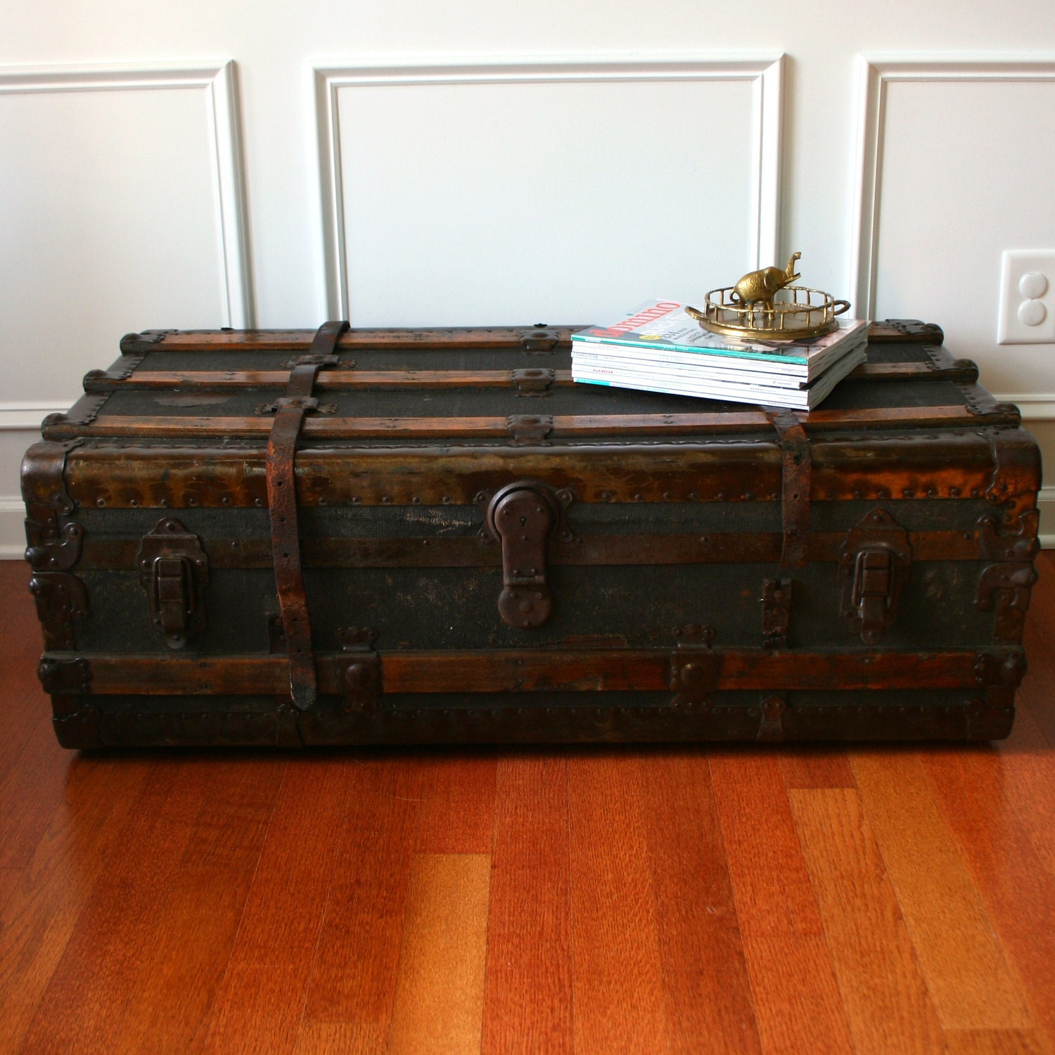 Beige Trunk Coffee Table: Huge Antique Steamer Trunk. Coffee Table. Flat Top. Canvas