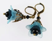 RESERVED-Mint and Black Floral Earrings