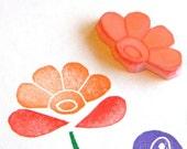 Folk art hand carved rubber stamp - flower blossom