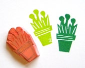 Potted plant hand carved rubber stamp