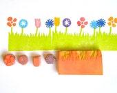 Flower garden border hand carved rubber stamps set