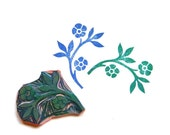 Hand carved stamp - large folk art floral design