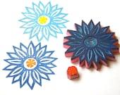 Large flower hand carved rubber stamp set of 2