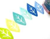 Petal or leaf hand carved rubber stamp