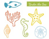 Under the Sea set of digital stamps clip art