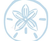Sand Dollar digital stamp clip art in periwinkle and black