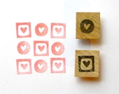 Mini hearts rubber stamp set of 2 - hand carved and wood mounted - gifts under 10