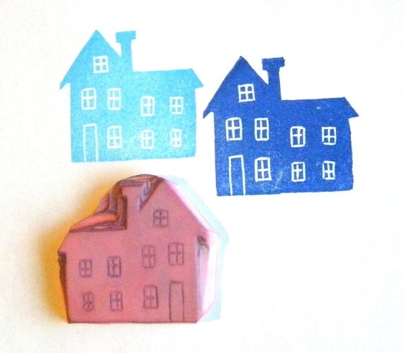 Hand carved rubber stamp - handmade house stamp