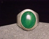 JADE Crystal Silver Jewelry Ring ORGANIC GEMSTONE Art - Great Bridesmaid Gift- available in sizes 7.25 and 7.75