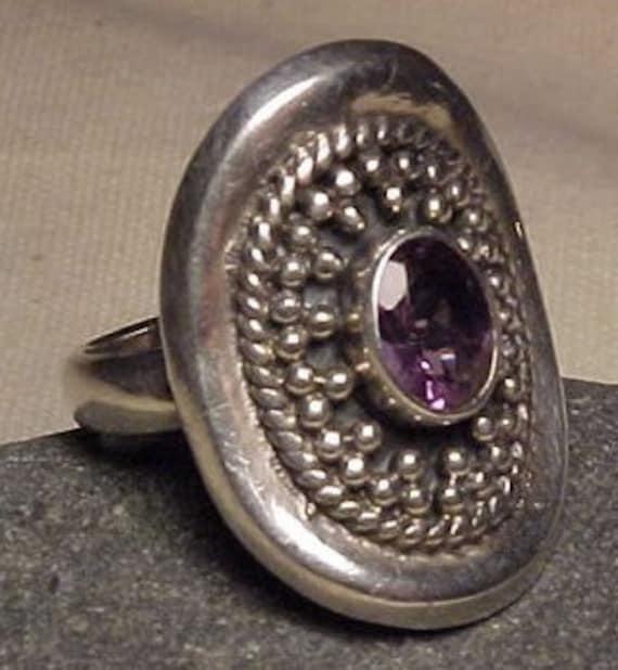 Amethyst Crystal Gemstone Silver Ring GREAT BRIDESMAID GIFT size 8.5 w/ Gift Box