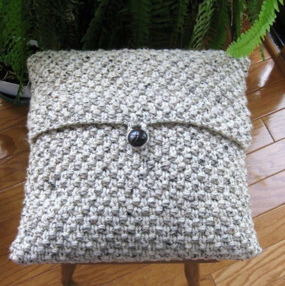 Knitting Pattern Envelope Cushion : Hand Knitted Pillow Cover