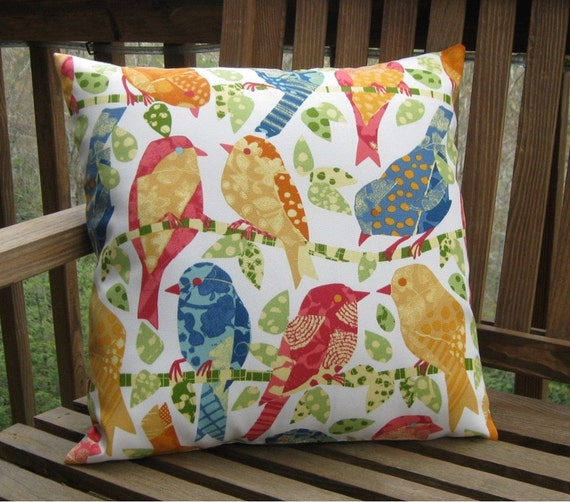 The ELGC Colorful Bird Pillow Cover - 14 inches with zipper