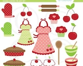 Baking Cherry Pie Clipart Set - Digital Elements Commercial use for Cards, Stationery and Paper Crafts and Products