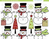 Winterland Fun - Traditional Red Green Clip Art Set - Digital Elements Commercial use for Cards, Stationery and Paper Crafts and Products