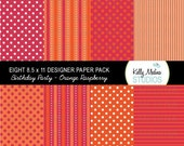 Birthday Party- Orange and Pink Raspberry - Designer Paper Pack Set Digital Elements for Cards, Stationery and Paper Crafts and Products
