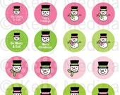 Christmas Snowmen - Pink and Green - 1.5 inch Circle Digital Sheet - Commercial use for Cupcake Toppers, Magnets, Paper Crafts and Products
