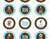 Sock Monkey Blue - 2 inch Circle Digital Collage Sheet - Commercial use for Cupcake Toppers, Magnets, Paper Crafts and Products