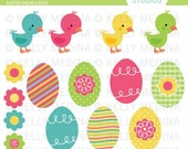 Easter Chicks and Eggs - Clip Art Set - Digital Elements Commercial use for Cards, Stationery and Paper Crafts and Products