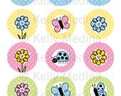 Doodling Spring Flowers - 2 inch Circle Digital Collage Sheet - Commercial use for Cupcake Toppers, Magnets, Paper Crafts and Products