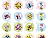 Doodling Spring Flowers- 1.5 inch Circle Digital Printable Sheet - Commercial use Cupcake Toppers, Magnets, Paper Products