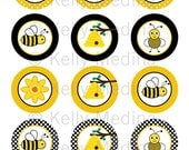 Bee - 2 inch Circle Digital Collage Sheet - Commercial use for Cupcake Toppers, Magnets, Paper Crafts and Products