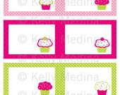 Cupcake - Pink and Green - Printable Labels - Personal Use, Table, Gift Bag labels, Paper Crafts and Products
