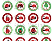 Ladybug - Clip Art 1.5 inch Circle Digital Collage Sheet - Commercial use for Cupcake Toppers, Magnets, Paper Crafts and Products