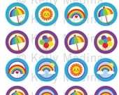 Rainbow  Blue and Purple - 1.5 inch Circle Digital Collage Sheet - Commercial use for Cupcake Toppers, Magnets, Paper Crafts and Products
