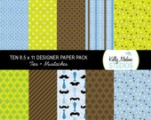 Ties & Mustaches - Blue and Brown - Designer Paper Pack Set Digital Elements for Cards, Stationery and Paper Crafts and Products