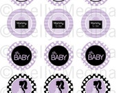 Mommy To Be - Purple and Black - 2 inch Circle Digital Sheet - Commercial use for Cupcake Toppers, Magnets, Paper Crafts and Products