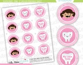 Tooth Fairy Pink - 2 inch Circle Digital Sheet - Commercial use for Cupcake Toppers, Magnets, Paper Crafts and Products