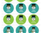 Christmas Snowmen - Blue and Green - 2 inch Circle Digital Sheet - Commercial use for Cupcake Toppers, Magnets, Paper Crafts and Products