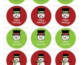 Christmas Snowmen - Red and Green - 2 inch Circle Digital Sheet - Commercial use for Cupcake Toppers, Magnets, Paper Crafts and Products