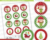 """Christmas Elves - 2"""" Circle Digital Collage Sheet - Commercial use for Cards, Stationery and Paper Crafts and Products"""