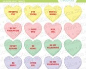 Valentine Heart Candy - Clip Art Set - Digital Elements Commercial use for Cards, Stationery and Paper Crafts and Products