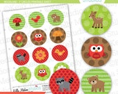 Woodland Animal - Clip Art 2 inch Circle Digital Collage Sheet - Commercial use for Cupcake Toppers, Magnets, Paper Crafts and Products