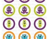 Monsters - 2 inch Circle Digital Sheet - Commercial use for Cupcake Toppers, Magnets, Paper Crafts and Products
