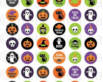 Halloween - 1 inch Circle Digital Collage Sheet - Commercial use for Cupcake Toppers, Magnets, Paper Crafts and Products