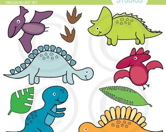 Dinosaur - Clip Art Set - Digital Elements Commercial use for Cards, Stationery and Paper Crafts and Products