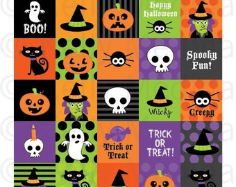 Halloween -  1.5 inch Square Tiles Digital Collage Sheet - Commercial use for Paper Crafts and Products