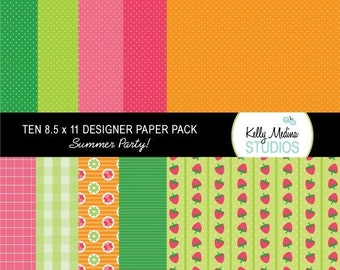 Summer Party - Fruit and Ice Cream - Paper Pack