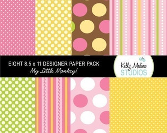 My Little Monkey - Girl - Designer Paper Pack Set Digital Elements for Cards, Stationery and Paper Crafts and Products